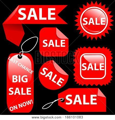 Shopping sale seven red tags labels set