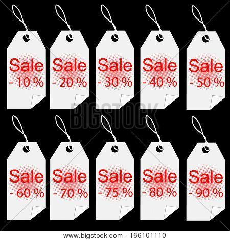 Shopping sale white tags labels set percent