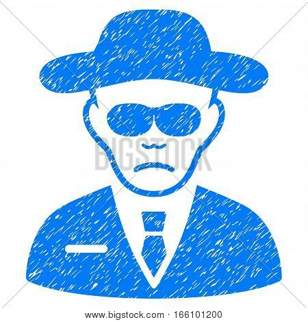 Security Agent grainy textured icon for overlay watermark stamps. Flat symbol with dirty texture. Dotted vector blue ink rubber seal stamp with grunge design on a white background.