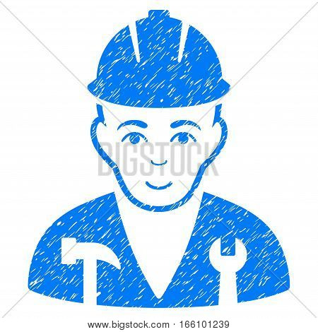 Serviceman grainy textured icon for overlay watermark stamps. Flat symbol with scratched texture. Dotted vector blue ink rubber seal stamp with grunge design on a white background.