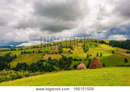 Haystack on beautiful summer landscape in Carpathian mountain field in cloudy summer day before rain. Karpaty, Ukraine