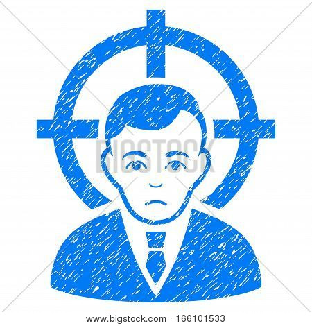 Victim Businessman grainy textured icon for overlay watermark stamps. Flat symbol with unclean texture. Dotted vector blue ink rubber seal stamp with grunge design on a white background.