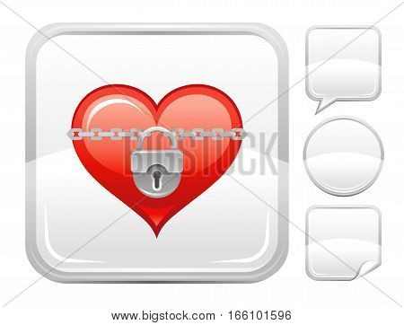 Happy Valentines day romance love heart. Lock chain icon isolated on white background. Romantic dating vector illustration. Button icons set. Abstract template holiday design. Flat cute cartoon sign