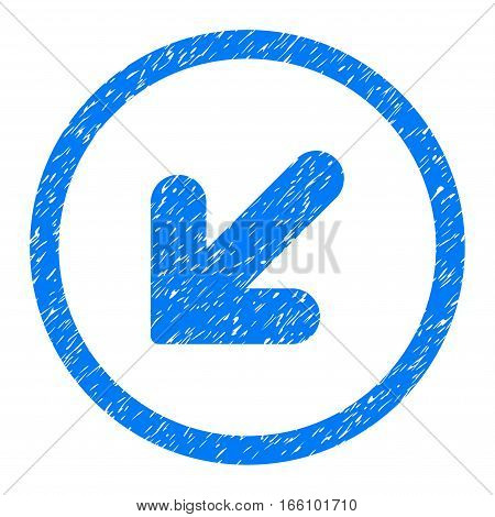 Rounded Arrow Down Left rubber seal stamp watermark. Icon symbol inside circle with grunge design and dust texture. Unclean vector blue sticker.