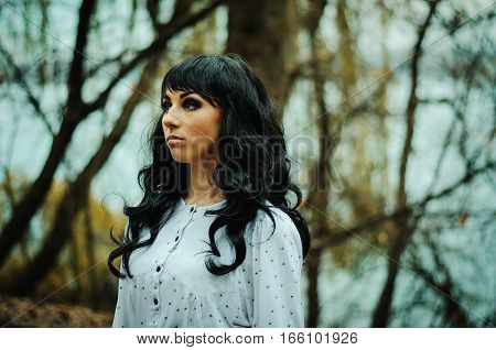 Young Sad Lonely Brunette Girl At Sleepwear