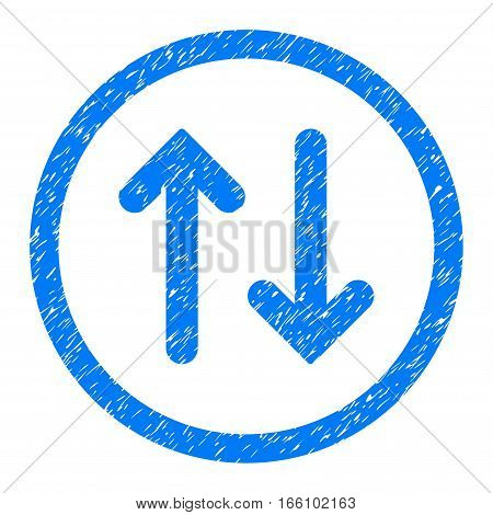 Rounded Flip rubber seal stamp watermark. Icon symbol inside circle with grunge design and unclean texture. Unclean vector blue emblem.