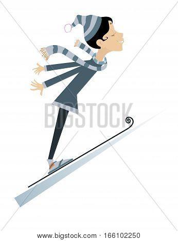 Woman as ski jumper. Cartoon woman ski jumping illustration