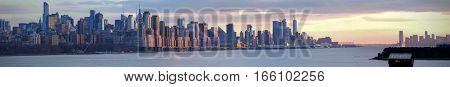 Panoramic view of Manhattan from New Jersey.