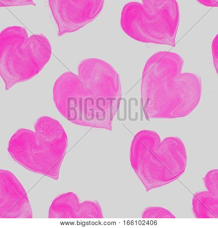 Watercolor hearts  seamless pattern. Valentines Day  seamless pattern