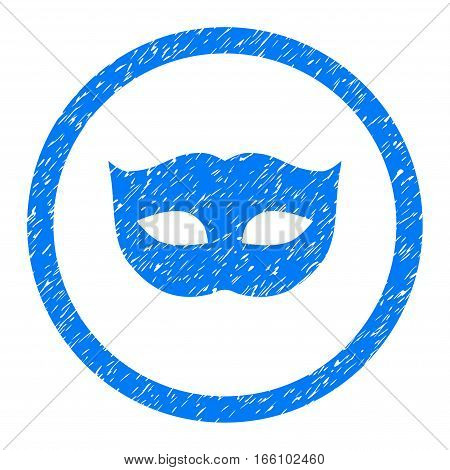 Rounded Privacy Mask rubber seal stamp watermark. Icon symbol inside circle with grunge design and unclean texture. Unclean vector blue emblem.