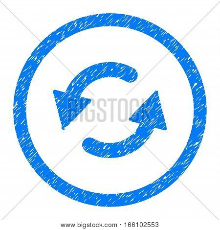 Rounded Refresh CCW rubber seal stamp watermark. Icon symbol inside circle with grunge design and unclean texture. Unclean vector blue sign.