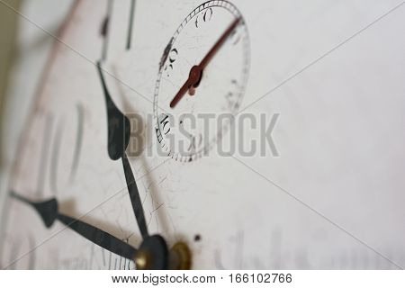 Old Vintage Clock Showing Concept Of Time Extreme Close Up
