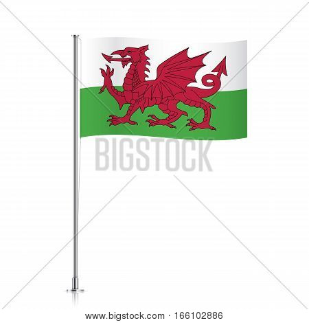 Welsh vector flag. Waving flag of Wales on a metallic pole, isolated on a white background.
