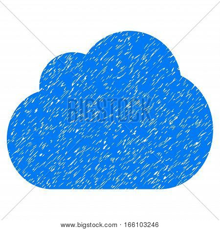 Cloud grainy textured icon for overlay watermark stamps. Flat symbol with dirty texture. Dotted vector blue ink rubber seal stamp with grunge design on a white background.