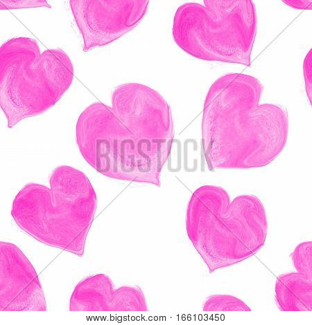 Watercolor hearts  seamless pattern. Valentines Day  seamless pattern. Watercolor hearts