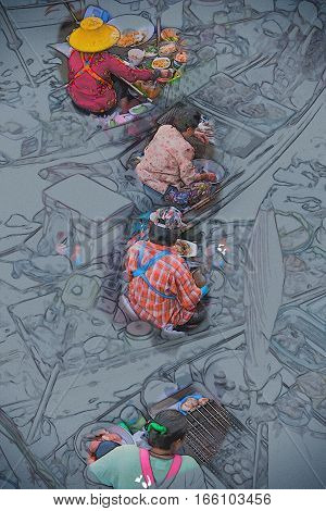 Colorful trader's boats in a floating market in Thailand. Floating markets are one of the main cultural tourist destinations in Asia. Modern painting style texture. Travel illustration.