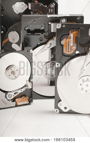 details of hard disk drive opened with evidence of the internal disk