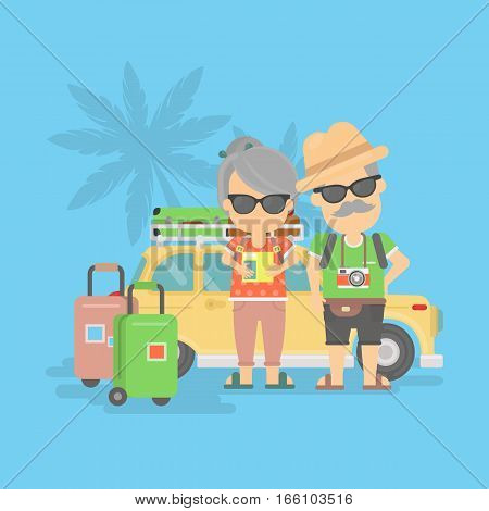 Isolated retired couple on vacation. Happy funny grandparents in sunglasses with cameras and suitcases stand near traveling car.