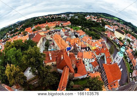 Overlooking the historic town centre of Cesky Krumlov. Czech Republic.