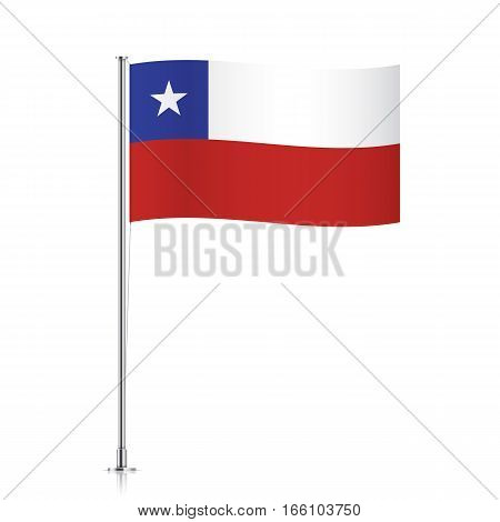 Chile vector flag template. Waving flag of Chile on a metallic pole, isolated on a white background.