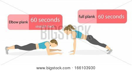 Plank exercise for women on white background. Elbow plank and straight plank. Healthy lifestyle.