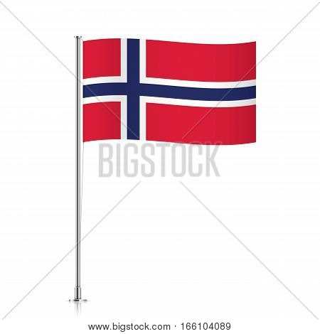 Norwegian vector flag template. Waving flag of Norway on a metallic pole, isolated on a white background.