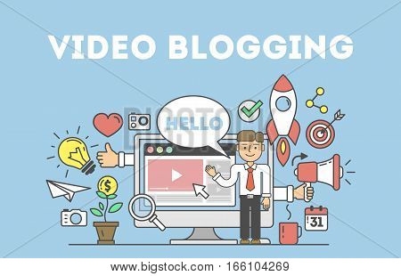 Video blogging concept.Idea of creating videos and vlogs about anything. Illustartion with icons as rocket, laptop screen.