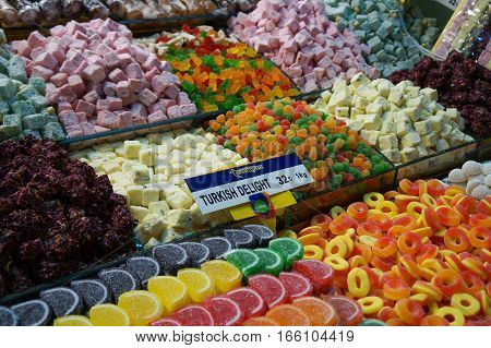 large selection of candies and sweets at a small shop inside Istanbul's Grand Bazaar in Turkey
