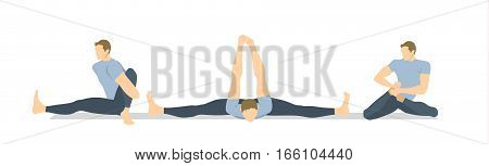 Yoga workout set on white background. Different poses and asanas. Healthy lifestyle. Body stretching. Exercises for men.