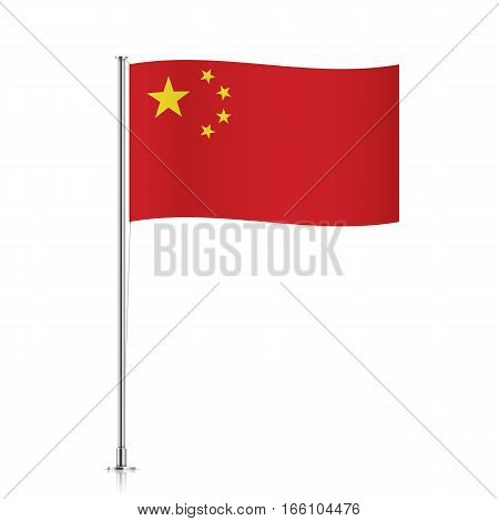 Chinese vector flag template. Waving flag of China on a metallic pole, isolated on a white background.