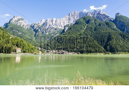 ALLEGHE,ITALY-AUGUST 2,22016:view of the Alleghe village and his under the dolomitic mount of Civetta during a sunny day.