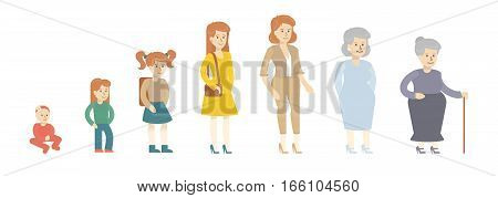 Female age evolution on white background. From kid to grandmother. All stages of maturity.