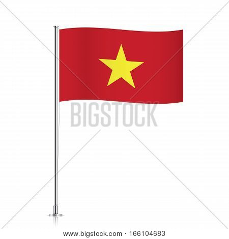 Vietnamese vector flag template. Waving flag of Vietnam on a metallic pole, isolated on a white background.