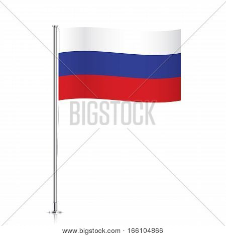 Russian vector flag template. Waving flag of Russia on a metallic pole, isolated on a white background.