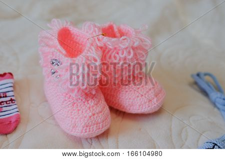 Knitted Pink Baby Shoes