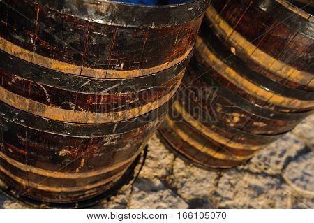 Wood Old Wine Barrel