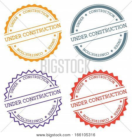 Under Construction Badge Isolated On White Background. Flat Style Round Label With Text. Circular Em