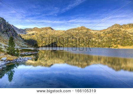 The beautiful Lac d'Aubert located in Pyrenees Mountains in Neouvielle Massif.