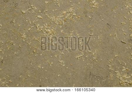 Focused texture of grey floor with wood shavings