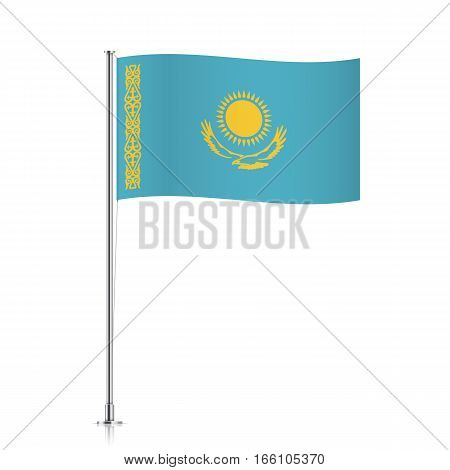 Kazakhstan vector flag template. Waving flag of Kazakhstan on a metallic pole, isolated on a white background.