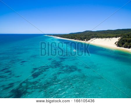 An aerial view of the coastline and sand dunes on Moreton Island, Queensland, Australia