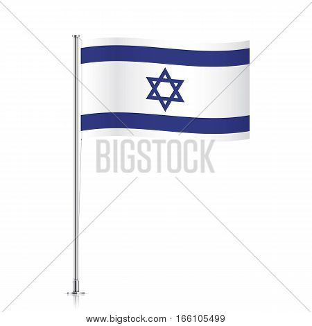 Israeli vector flag template. Waving flag of Israel on a metallic pole, isolated on a white background.