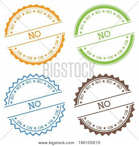 No Badge Isolated On White Background. Flat Style Round Label With Text. Circular Emblem Vector Illu
