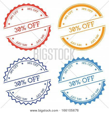 30% Off Badge Isolated On White Background. Flat Style Round Label With Text. Circular Emblem Vector