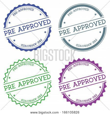 Pre-approved Badge Isolated On White Background. Flat Style Round Label With Text. Circular Emblem V