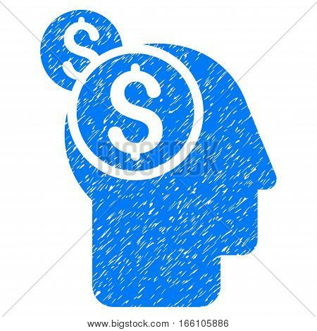 Business Thinking grainy textured icon for overlay watermark stamps. Flat symbol with scratched texture. Dotted vector blue ink rubber seal stamp with grunge design on a white background.