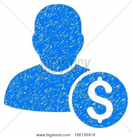 Businessman grainy textured icon for overlay watermark stamps. Flat symbol with scratched texture. Dotted vector blue ink rubber seal stamp with grunge design on a white background.