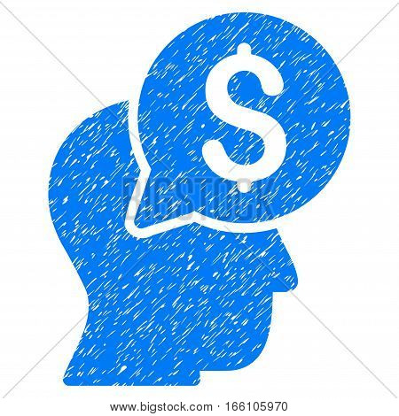 Businessman Think grainy textured icon for overlay watermark stamps. Flat symbol with dirty texture. Dotted vector blue ink rubber seal stamp with grunge design on a white background.