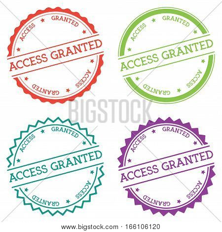 Access Granted Badge Isolated On White Background. Flat Style Round Label With Text. Circular Emblem