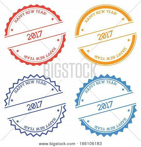 Happy New Year 2017 Badge Isolated On White Background. Flat Style Round Label With Text. Circular E
